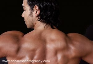 man fitness guru photo of back with muscles
