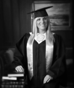 black and white graduation portrait cap and gown san antonio