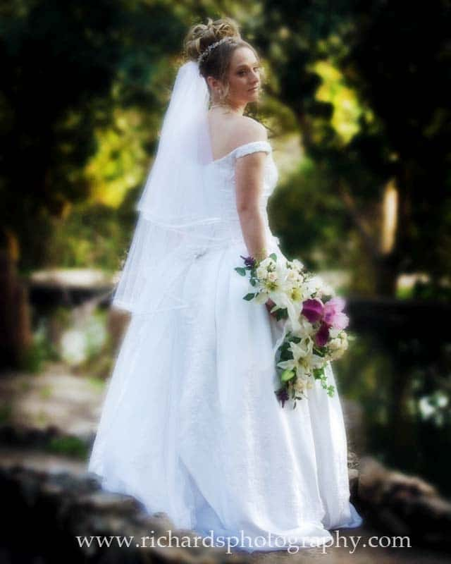 bridal portrait of becky holding her wedding bouquet
