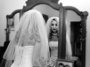 Black and White Wedding Photo of Bride at San Antonio Wedding