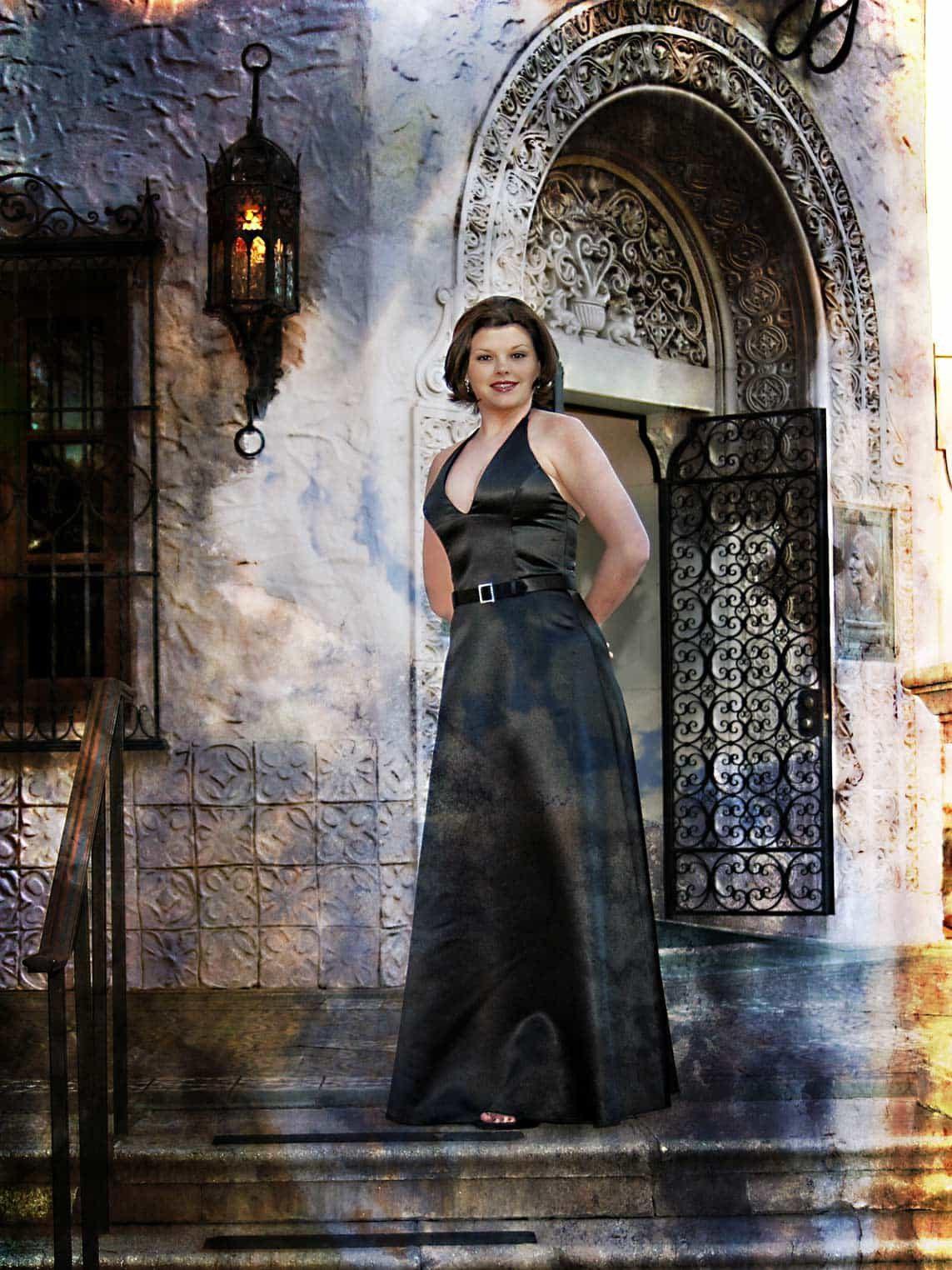 Stylish Senior Portrait Session Girl in Black Dress San Antonio Area Location