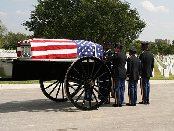 military funeral casket fort sam houston cemetery