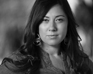 Headshot Photographer Black White San Antonio TX Woman in Real Estate Business