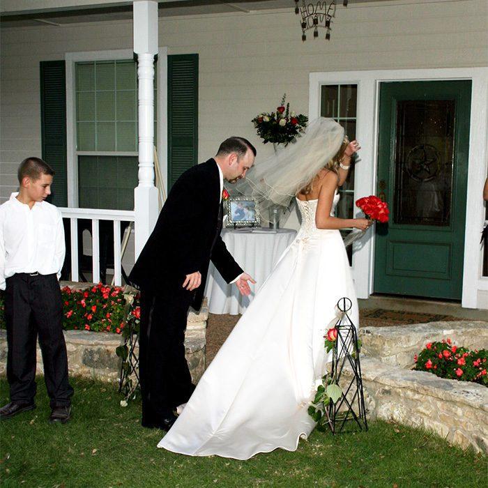 bride groom walking after wedding ceremony