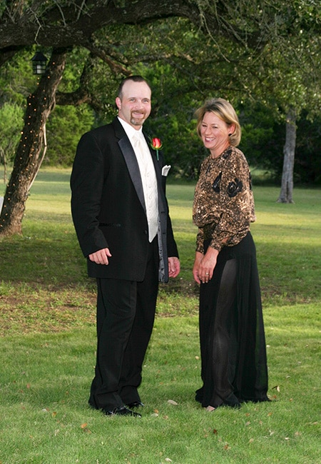 groom with mother at san antonio wedding