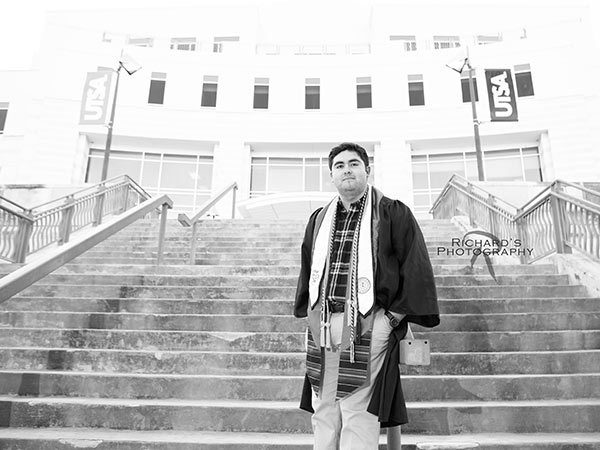 black-and-white-graduation-portrait-boy-UTSA-graduate