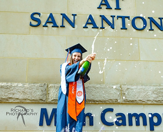 UTSA graduation pictures on campus cap and gown