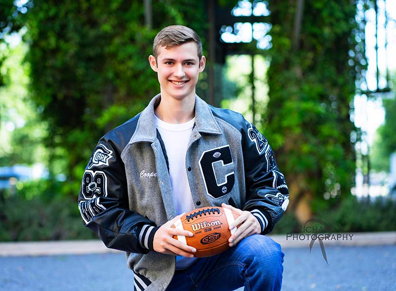 senior-pictures with football and school letter-jacket pearl brewery