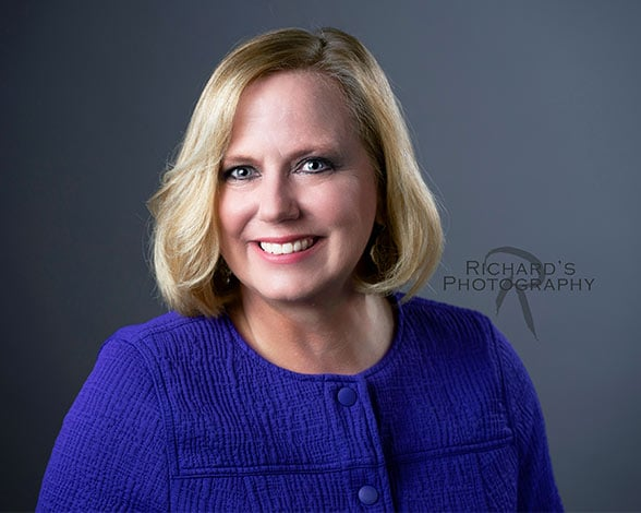 woman business portrait san antonio blue dress