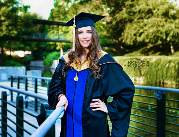 graduation pictures cap and gown san antonio riverwalk near pearl brewery