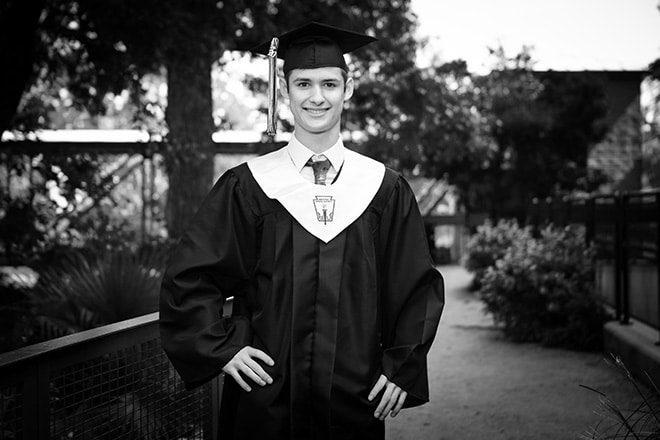 black and white photos graduation san antonio boy
