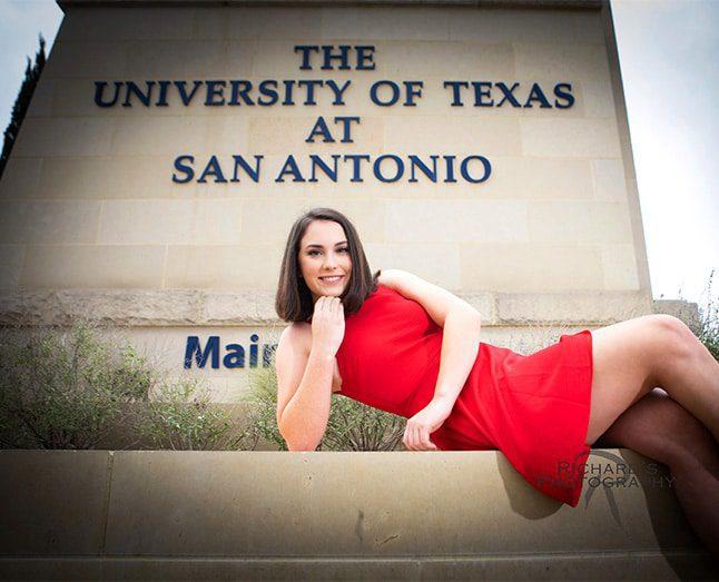 graduation pictures san antonio texas red dress utsa campus