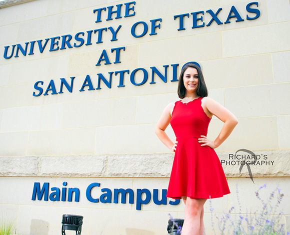 UTSA campus senior pictures girl red dress san antonio
