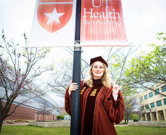 medical student graduation pictures on campus san antonio texas