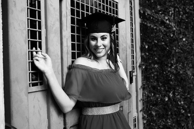 black and white senior photo