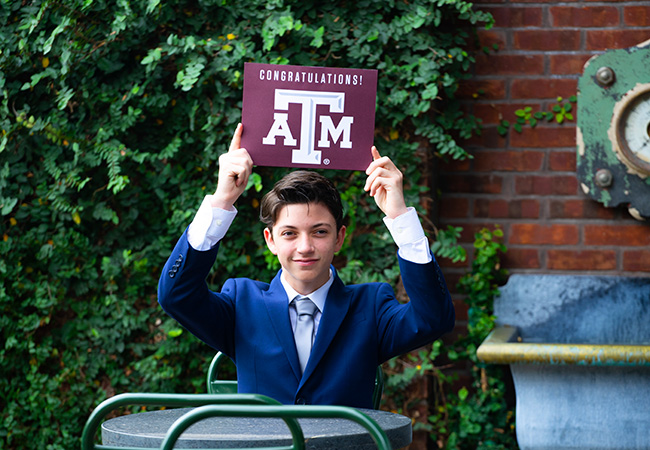 graduation portrait pearl brewery suit and tie texas a&m