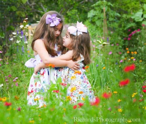 Childrens Portraits Two Sisters Hugging San Antonio TX
