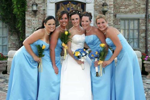 Bride at wedding with bridesmaids