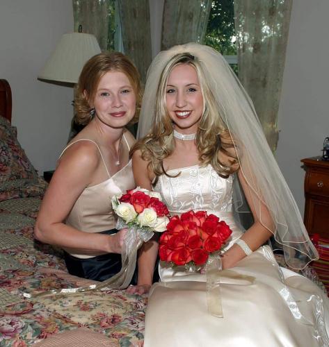 Photo Bride With Maid of Honor at San Antonio Home Wedding