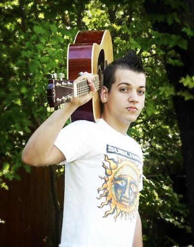 high school senior portrait boy with guitar