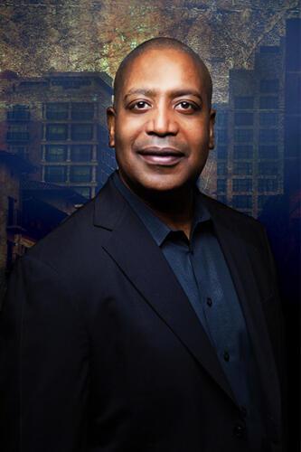 composite portrait business man downtown san antonio background