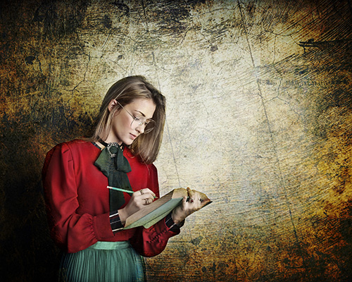 portrait woman red shirt