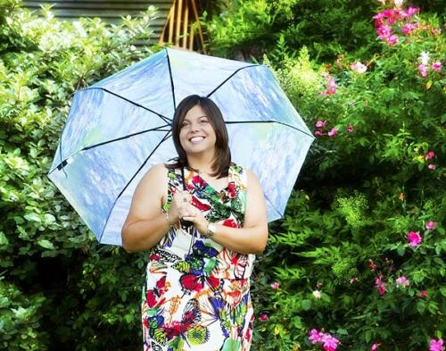 girl senior portrait with big umbrella san antonio studio