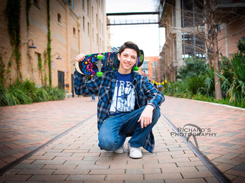 the pearl brewery senior pictures boy skateboard