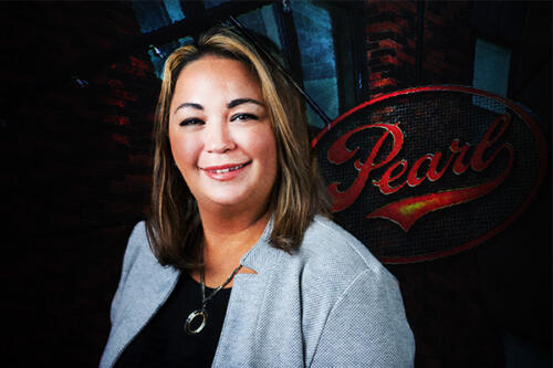 woman business portrait creative pearl brewery background