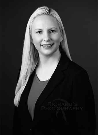 black and white professional headshot for woman medical service san antonio