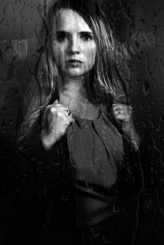 black and white woman's portrait