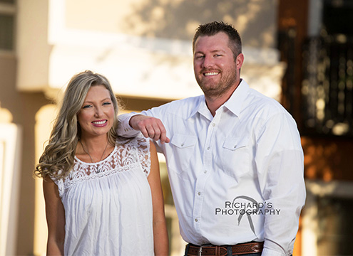 brother and sister family photo dressed in white