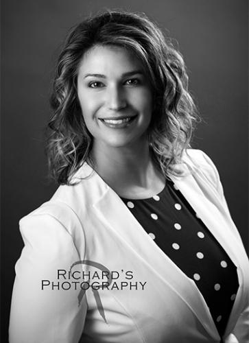business woman headshot black and white photography san antonio