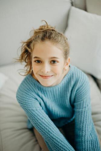 children's portrait girl wearing sweater in san antonio