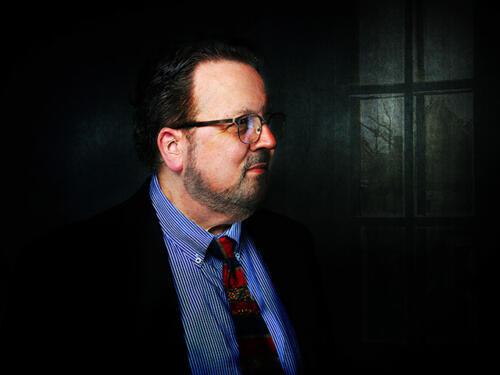 creative portrait composite man in window