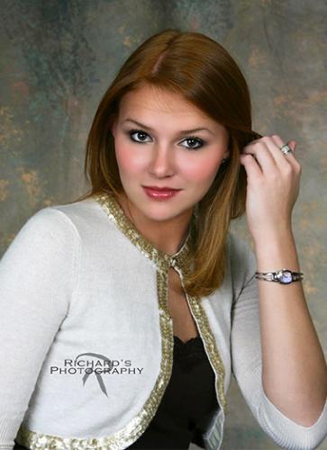 girl high school senior white sweater red hair san antonio