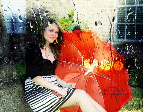 girl red umbrella high school senior portrait san antonio
