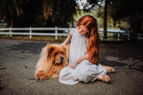 girl with dog kids photography san antonio
